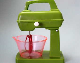 Vintage Miniature Plastic Toy Mixer and Bowl, Stand Mixer, Play Kitchen