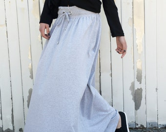 Grey Loose Skirt / Long Pocket Skirt / Extravagant Maxi Skirt by METAMORPHOZA