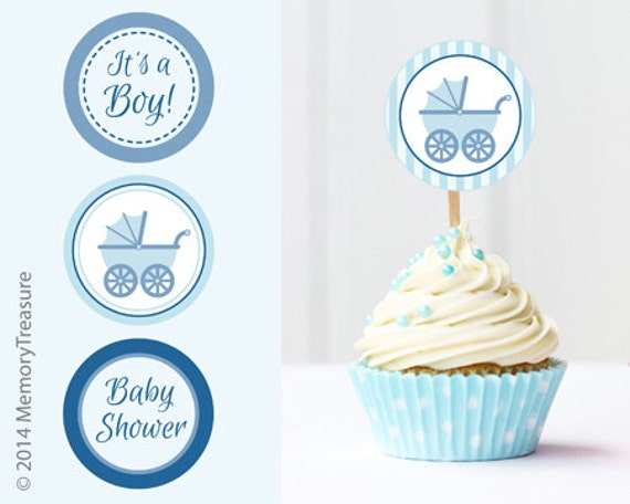 Boy baby shower cupcake toppers printable baby shower cup cake for Baby shower cupcake picks decoration