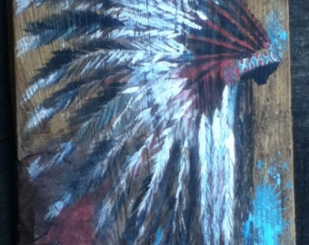 GIFT IDEAs - Reclaimed wood wall decor / art / sign - headdress - native american - hand painted