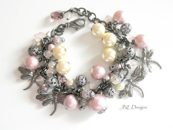 Romantic Dragonfly Charm Bracelet Pearl Bracelet Pink  Charm Bracelet Cha Cha Bracelet Jewelry for Her