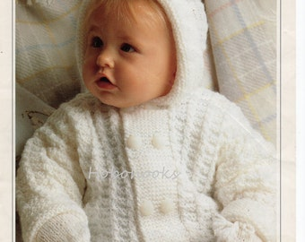 Baby Knitting Pattern baby hooded jacket baby cardigan & mitts baby set baby coat -18 to 24 inch chest - DK -PDF instant download