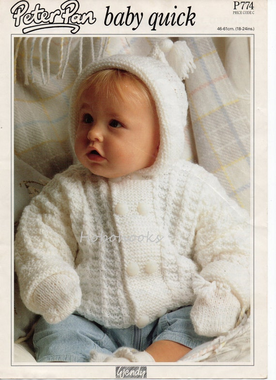 Knitting Pattern Baby Hooded Jacket : Baby Knitting Pattern baby hooded jacket baby cardigan & mitts