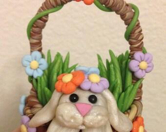"KushlansCreations ""Flower"" Standard Easter Bunny handmade polymer clay sculpture"