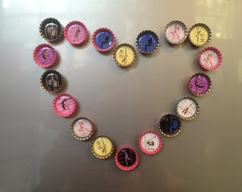 Pole dance & fitness bottle cap magnets, set of 4