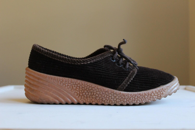 vintage brown corduroy shoes retro canvas shoes size