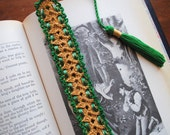 Crochet bookmark with ribbon and tassel, gold and green