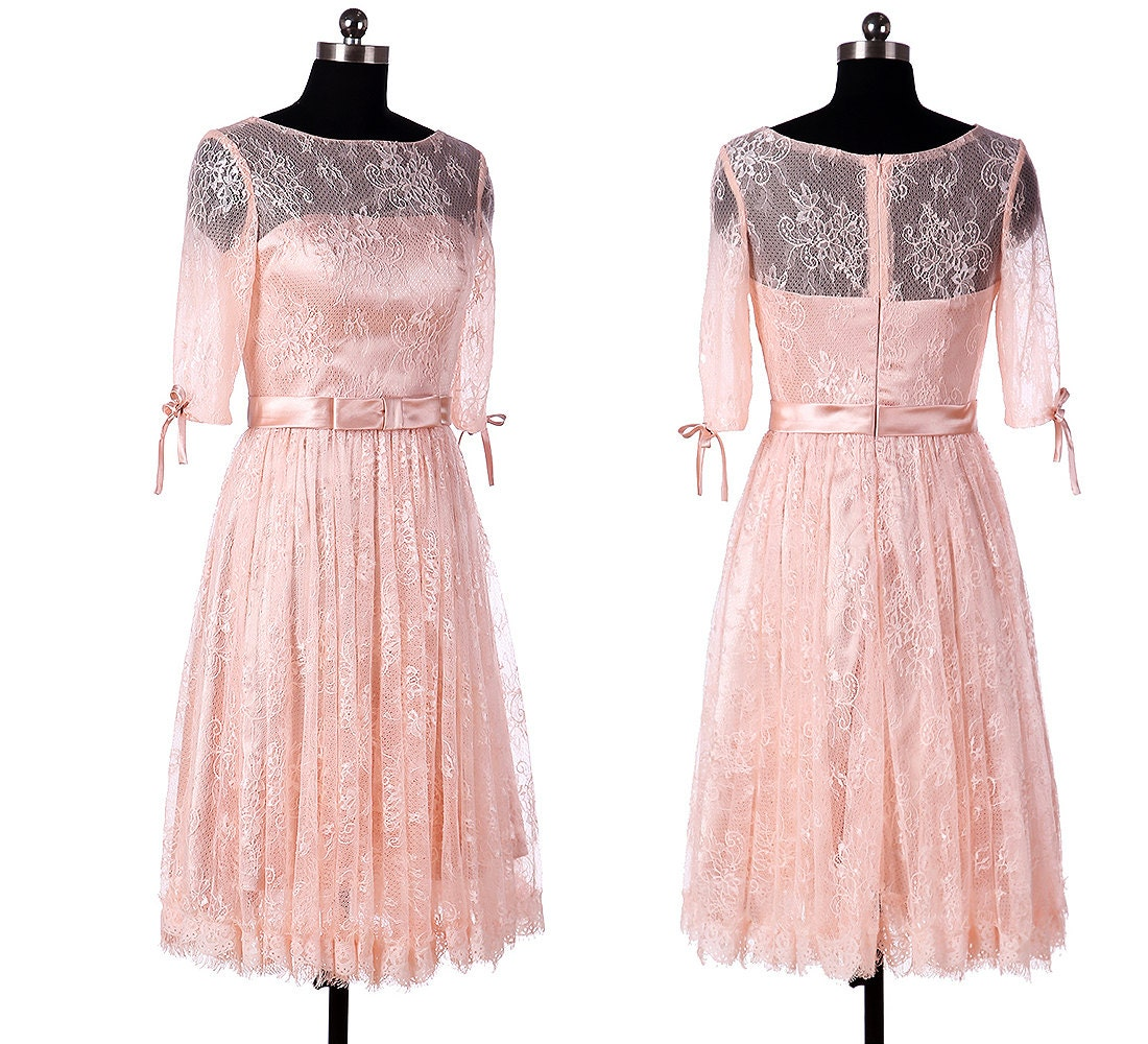 lace sleeves bridesmaid dress pearl pink short by