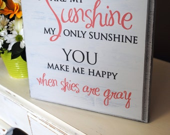 "You are my sunshine wall art, hand painted, wood sign, perfect for a nursery room. Large 24"" x 24"""