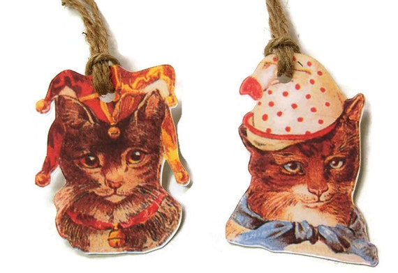 Gift Tags - Cats, Favor Tags,Victorian Cats in Hats,Thank You Tags, Birthday Party Decoration, Party Bag Tags,Cat Themed Party,Cat Gift Tags
