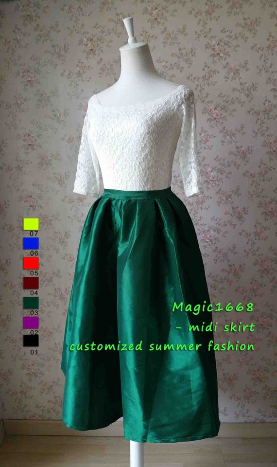emerald green midi skirt tea length pleated skirt by magic1668