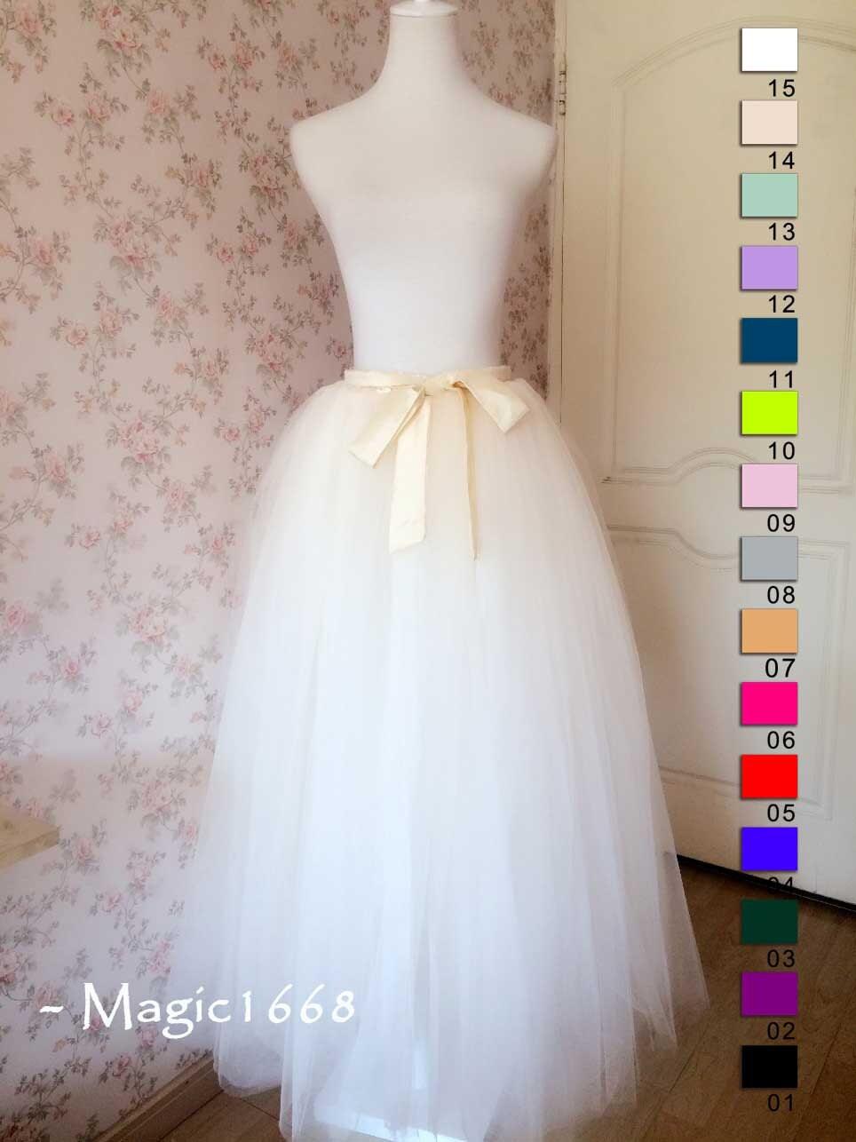 6daec7b67a White Cream Tulle Tutu Skirt Adult 5 7 layer Maxi Tutu Skirt Girls Floor  length Party Tutus Plus Size Custom made Tutu – magic1668 design