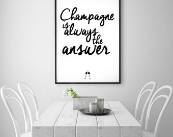 Christmas Party Decor - Funny Christmas Quote Christmas Decor - Holiday Party Decoration,Champagne Is Always The Answer, New Year Resolution