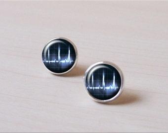 Vintage Heartbeat SVG Earrings, ECG, Heart, Doctor Earrings, Nurse Earrings, silver Earring stud, Earring clip