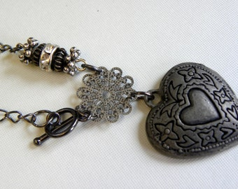 Dark heart necklace, gunmetal heart, black and silver heart necklace