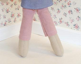 Polka dot doll pants. Pink doll leggings. Girl doll pants. Gift idea for girls.