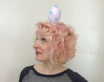 RTS Giant Light Purple Polka Dot Easter Egg Fascinator, Easter bonnet, Costume, Burlesque, Mini Hat, Kitschy Easter Bonnet