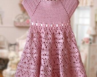 Pink Lace Dress Crochet Pattern , Flower Girl Dress , Pink Toddler Dress , Summer Dress