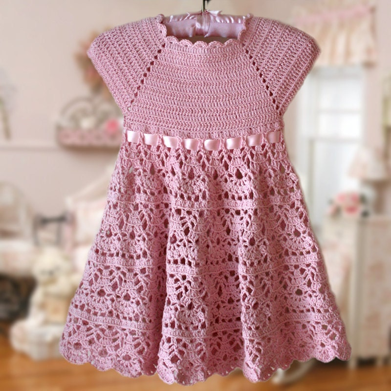 Free Crochet Pattern For Girl Dresses : Pink Lace Dress Crochet Pattern Flower Girl Dress Pink