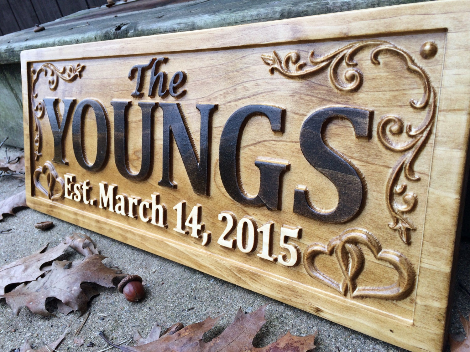 Wedding Gift Signs: Personalized Family Name Sign Wedding Gift Custom Carved
