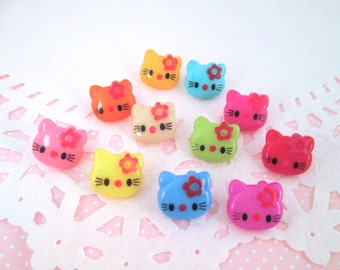 Multicolor Kitty Shank Button Cabochons CB2