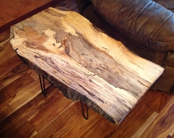 Custom Live Edge Tables With Unique Grain Patterns   Spalted Maple Wood  Slab With Steel Hairpin