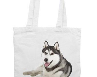 Siberian Huskie Cotton Tote Shopping Bag