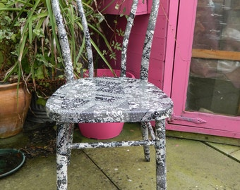 Black and White Decopatched/decoupaged Smart  bentwood chair