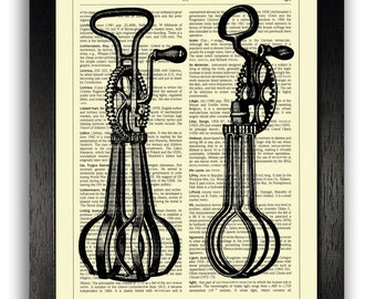 Vintage Egg Beaters Art Print, Kitchen Wall Decor, Kitchen Art Print, Kitchen Sign, Gift for Girlfriend, Present for Wife, Kitchen Utensils