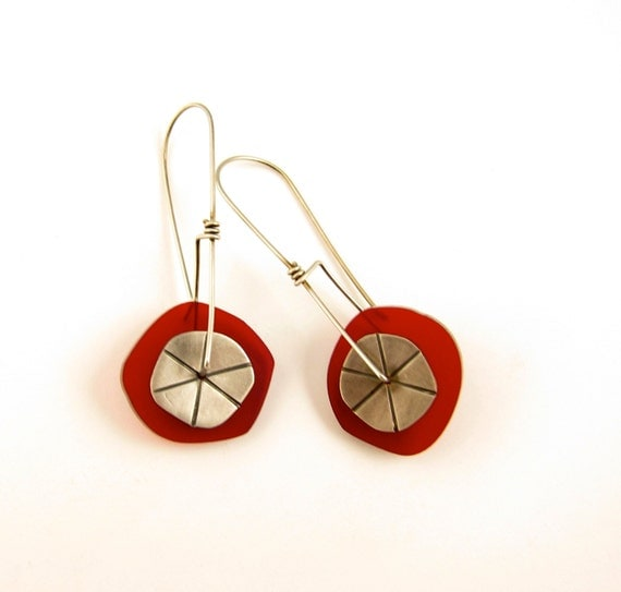 Sterling Silver and Plexiglas Earrings in Transparent Red