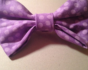 Handmade Polka Dot Hair Bow with Attached Barrette