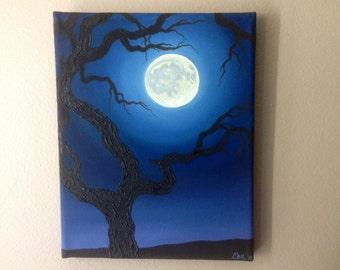 Full Moon Creepy Tree Oil Painting