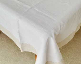 Pure Linen Tablecloth  White with Natural Grey Linen Frame Border Decor Napkins Shabby Chic Cottage Decor #makeforgood