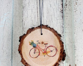 Red Bicycle Wood Ornament