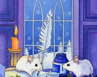 White Mice painting - mounted print originally done in watercolour, gouache and inks.
