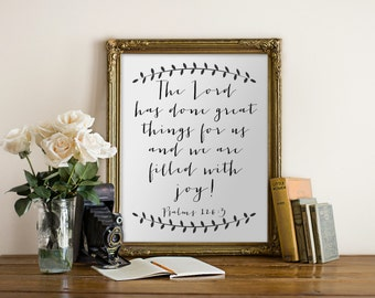 """PRINTABLE Art """"Lord Has Done Great Things For Us"""" Typography Art Print Scripture Print Bible Verse Print Bible Verse Art Scripture Art"""