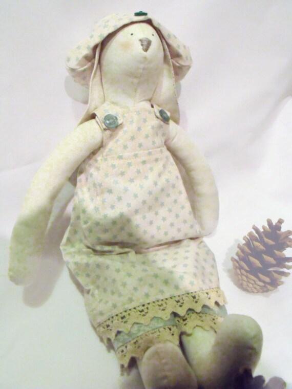 """rabbit doll, plush rag doll, Tilda bunny,  collectable doll, nursery décor, gift idea, Tilda green spotty outfit,14"""" tall"""