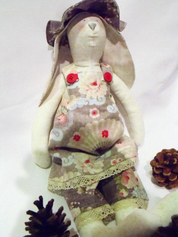 Tilda bunny,  rabbit doll, plush rag doll, collectable doll, nursery décor, grey fan fabric,