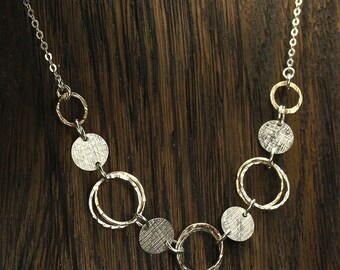 Two tone multi-circle choker necklace, 925 Sterling Silver and 14K Gold Filled multi-circle necklace. Artisan Handmade Y724
