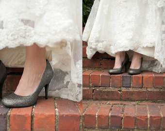Silver wedding shoes Silver Glitter shoes Wedding shoes silver Silver shoes gray shoes silver high heels low heel flats