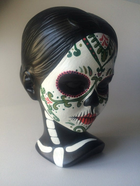 Day Of The Dead Hand Tattoo: Day Of The Dead Woman Bust Sugar Skull Face Painting Sculpture