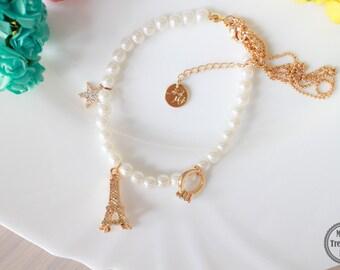 SALE!!! Charm Pearl Bracelet with ring paris theme charms