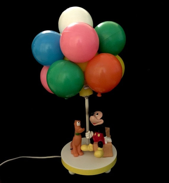 vintage mickey mouse and pluto balloon lamp. Black Bedroom Furniture Sets. Home Design Ideas