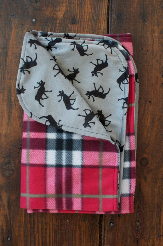 Moose Baby Blanket With Red Plaid Warm Fleece And Soft