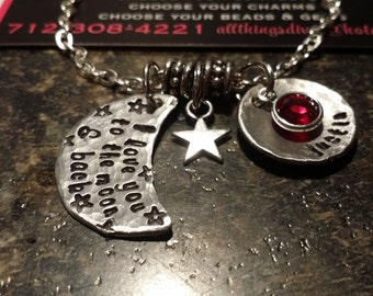 I LOVE you to the MOON & back.. handstamped NECKLACE with name and Swarovski Crystal Birthstone on stainless steel ball chain