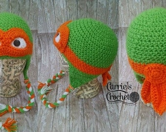 NO CHRISTMAS ORDERS -- Crochet Ninja Turtle Hat