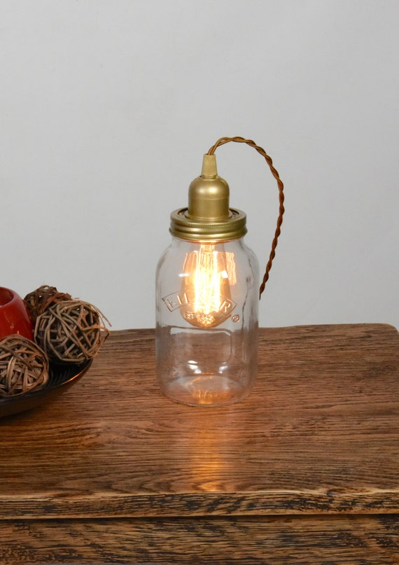 edison lampe nachttisch lampe kilner einmachglas licht. Black Bedroom Furniture Sets. Home Design Ideas