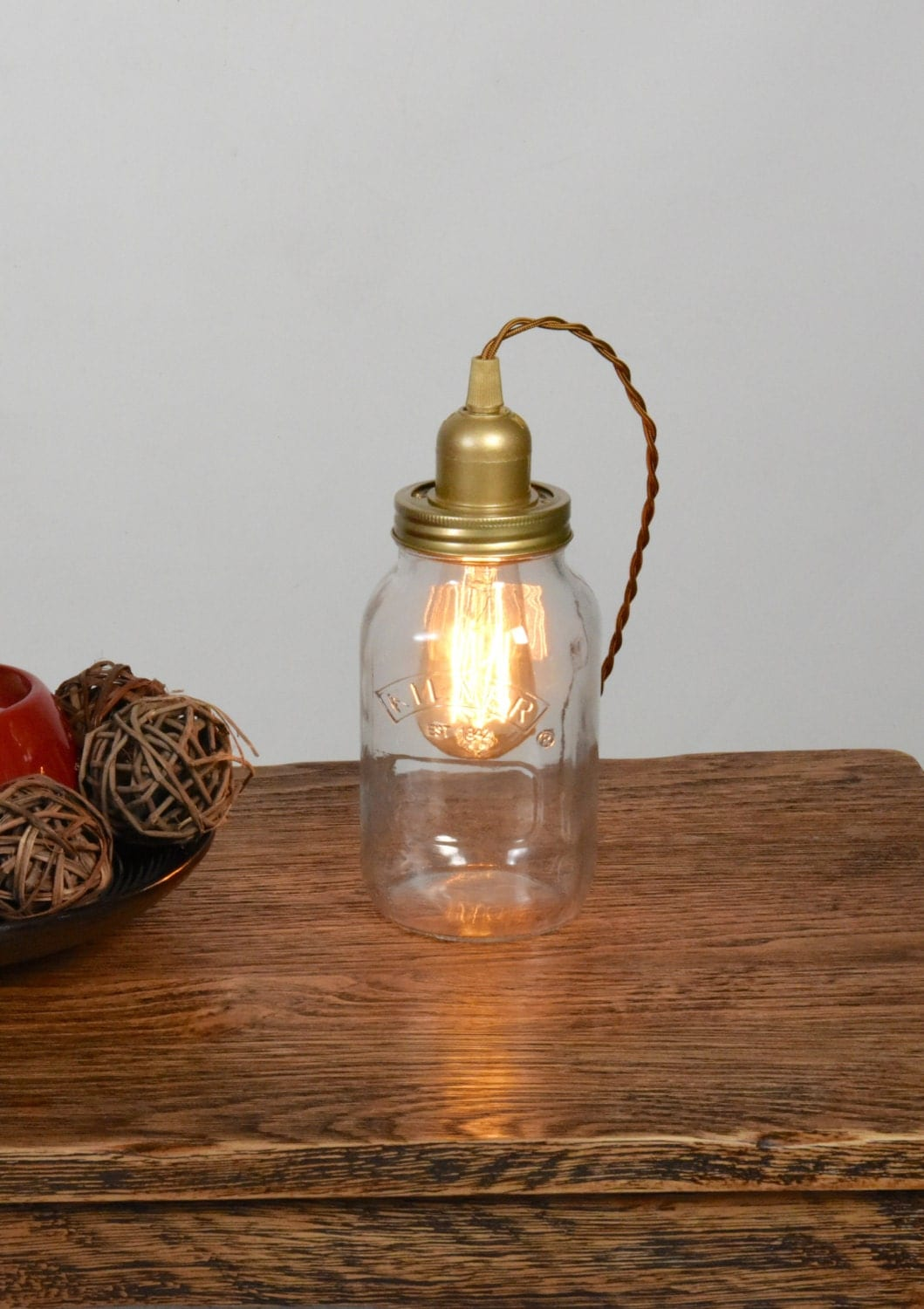 edison bulb bedside table lamp kilner mason jar light vintage. Black Bedroom Furniture Sets. Home Design Ideas