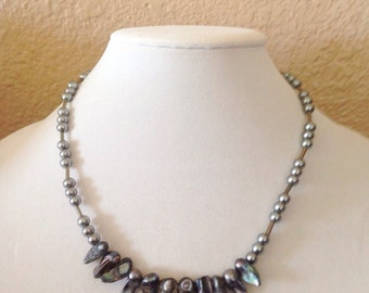 Silver beaded necklace, silver necklace, freshwater pearl necklace, beaded necklace