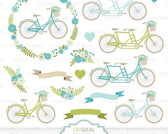 Wedding Bicycles Clip Art- Tandem- Blue Floral Bicycles- Wedding invitations- Floral Wreath- Flower Bicycles- Flower Basket-Banners- Bikes